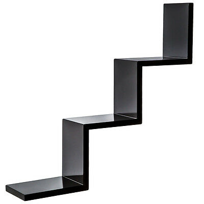 Floating zig zag wall shelf schelf units CD DVD book storage retro wood black