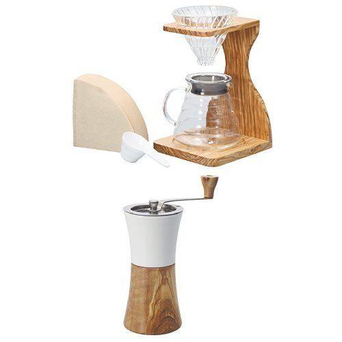 HARIO V60 olive stand set VSS-1206-OV & ceramic coffee mill  wood set MCW-2-OV