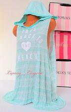 NWT VICTORIA'S SECRET Cover-Up 100%Modal VS Print Hooded Sleeveless Dress M Mint