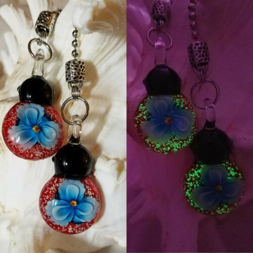 Glow in the Dark Glass Blue Floral Red Ladybug Ceiling Fan Pull Chain Pair