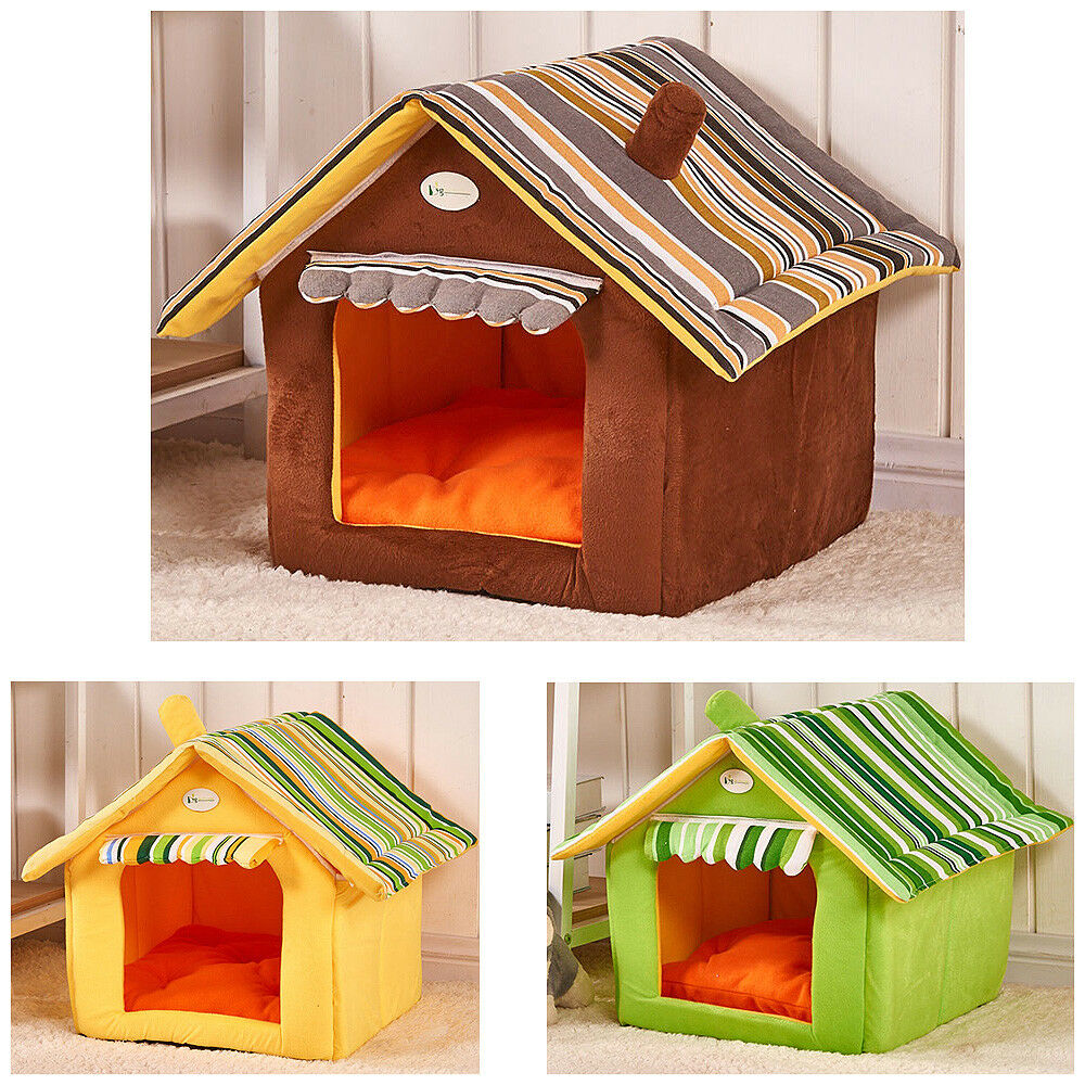 Dog House Pet Kennel Breathable Puppy Cat Nest Cotton Pad Foldable Size S