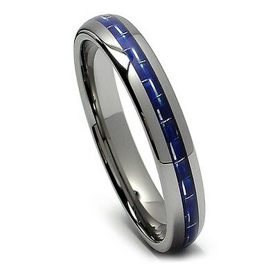 5MM Womens Tungsten Ring Wedding Band Blue Carbon Fiber Ring, High Polish Domed