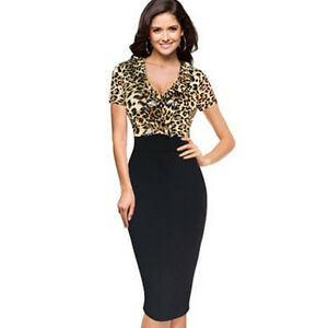 92a050abdba5 new women ladies Black leopard print pencil Bodycon dress size 8 10 ...