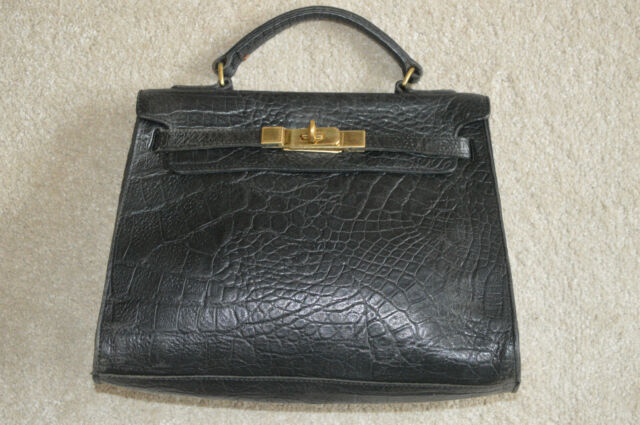 Mulberry Vintage Black Congo Nile Leather Kelly Style Womens Grab Handbag 1c279f8dc916c