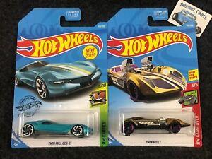 2018-2019-Hot-Wheels-Lot-of-2-Treasure-Hunt-TWIN-MILL-Gold-Twin-Mill-Gen-E-Teal
