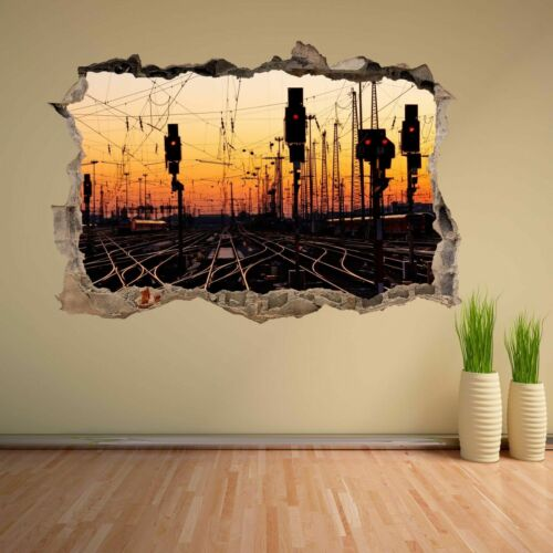 Railway Track Train Station Sunset Wall Sticker Mural Decal Home Decor DC30