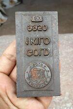 ANTIQUE V RARE EMIRATES GOLD CO.1 KG 9950 EGO GOLD BAR PRINTING IRON DYE, U.A.E
