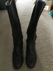 c116257e90f Details about Justin Equestrian Riding Field Tall Leather Black Soft Boots  Women's Size 6.5B