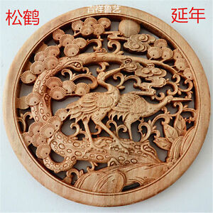 CHINESE HAND CARVED 鸳鸯 STATUE CAMPHOR WOOD ROUND PLATE WALL SCULPTURE