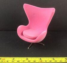 Dollhouse Miniature Furniture Modern Design Rose Pink Velvet Cozy Chair 1:12