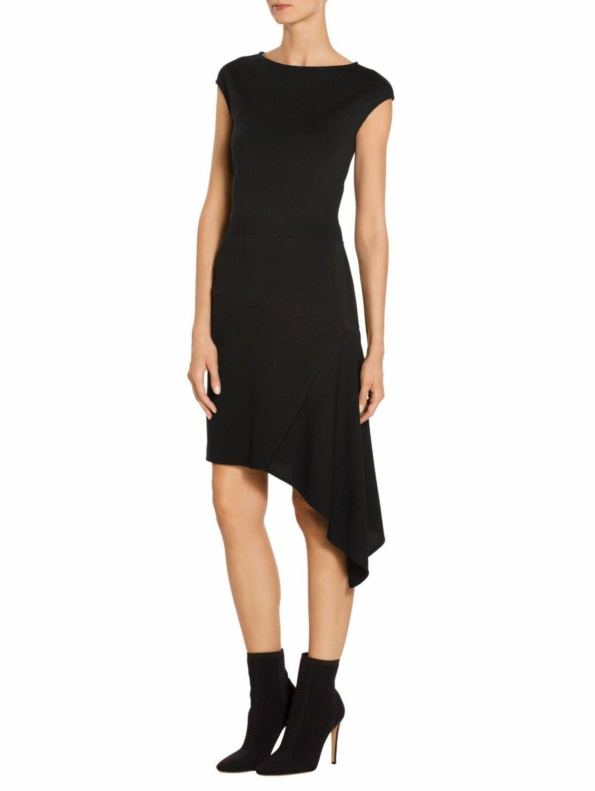 Nwt St.John Asymmetrisch Milano Scheide Schwarz Strick Kleid Größe 10   995