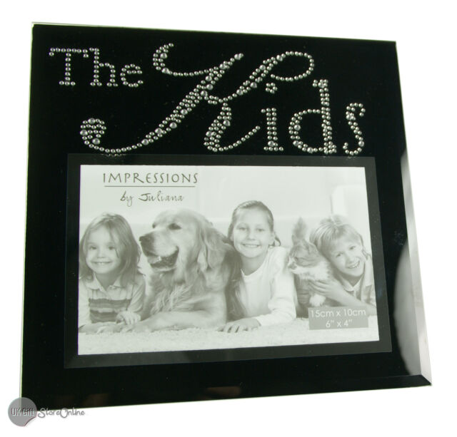 Black Glass and Crystals Kids Photo Frame Gift FG492KD