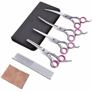 Scissors-for-Pets-Professional-Hairdressing-Canine-Ergonomic-with-Comb-Steel