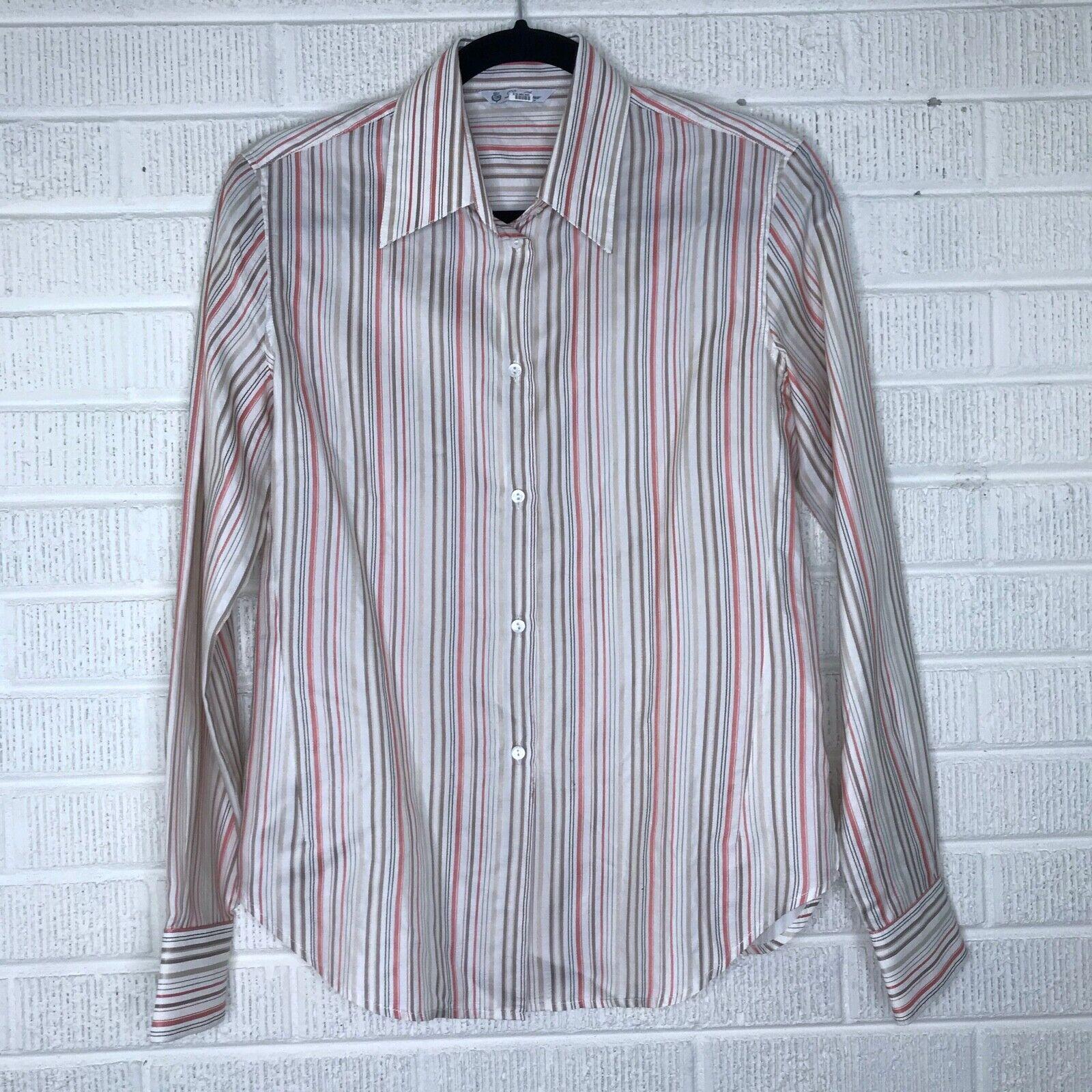 LGold Piana Größe 42 Silk Striped Button Down Blouse Top Long sleeve Cream EUC