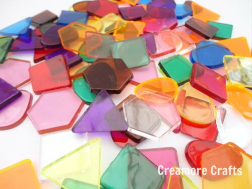 CLEAR COLOUR TRANSLUCENT MOSAIC PLASTIC SHAPES TILES  ART /& CRAFT STAINED GLASS