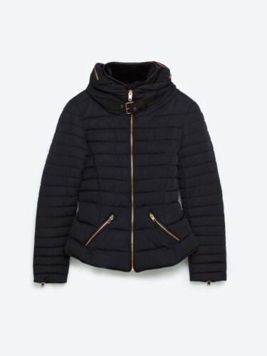 Zara Padded Steppjacke Hooded Jacket Collar Fur Fellkragen Quilted Puffer Jacke q4qwFS