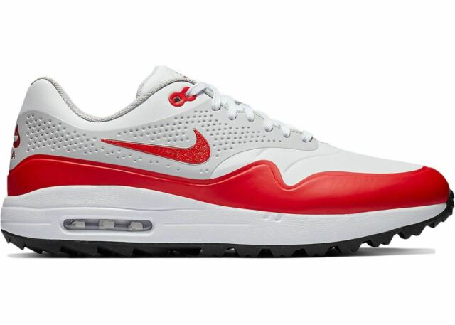 Mens Nike Air Max 1 Golf University Red White Neutral Grey Black AQ0863 100