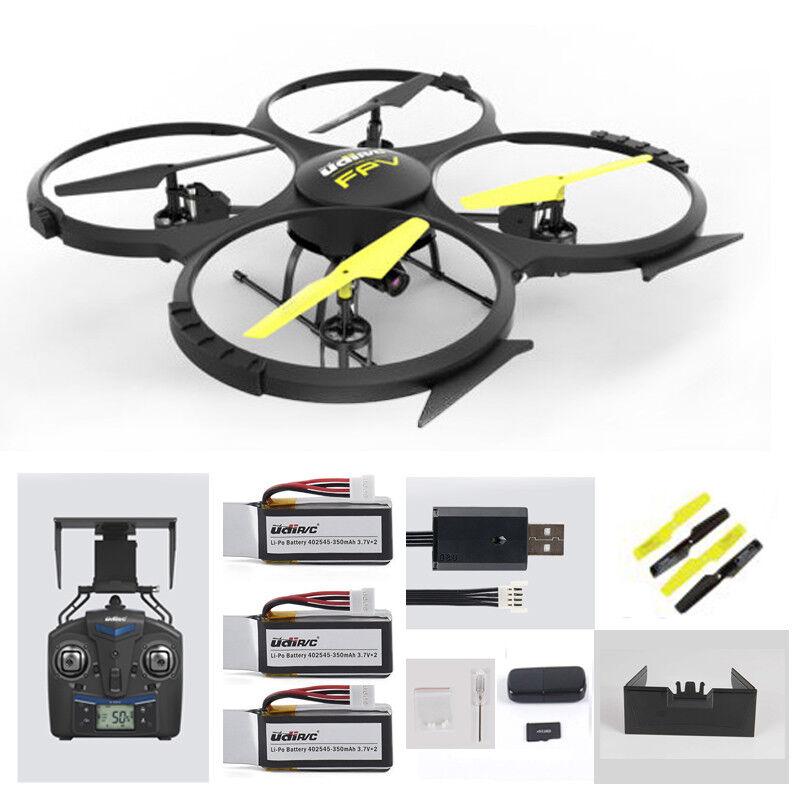 UDI FPV Drone u818a WIFI 2mp HD fotocamera con altitude Hold Headless mode 3 batterie