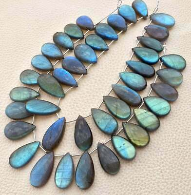 8 Inches,13 Beads Super Finest Blue Flash Labradorite  Faceted Pear Shape Briolettes Size 16-14mm aprx