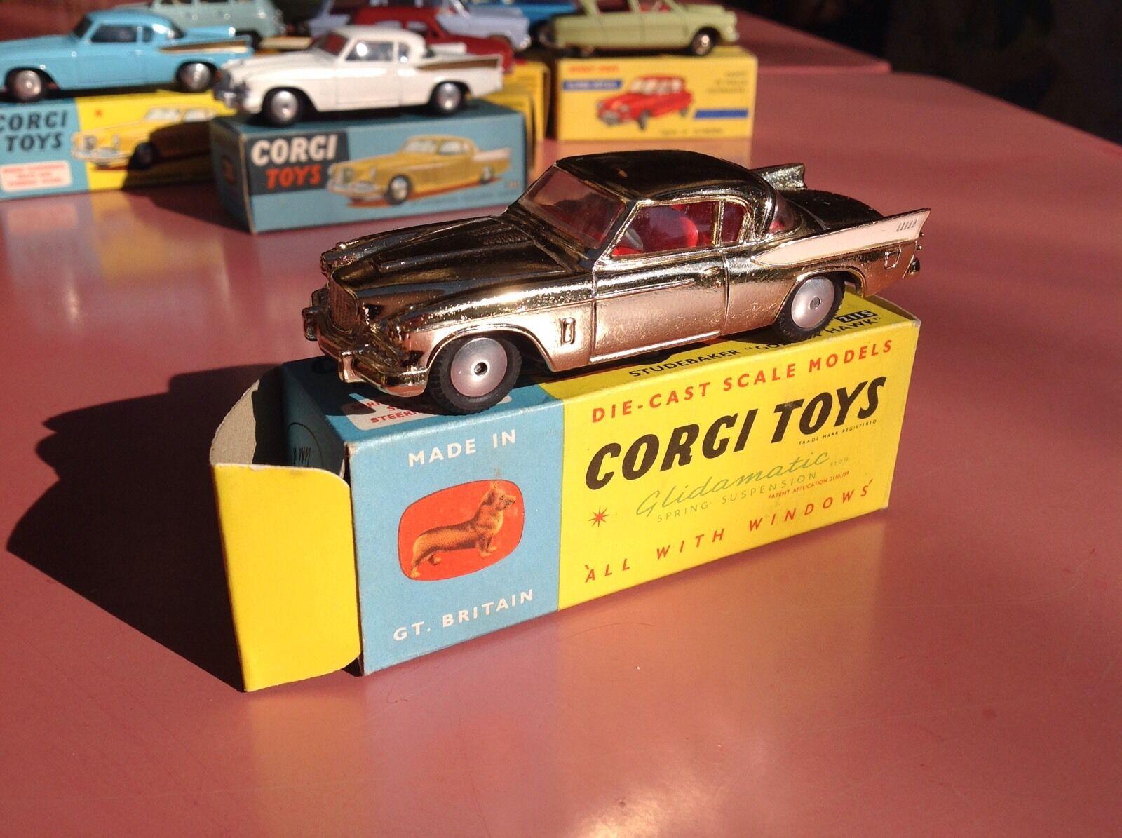 Corgi giocattoli Ref 211S Studebaker oroen Hawk  Mint in original scatola Stock magasin