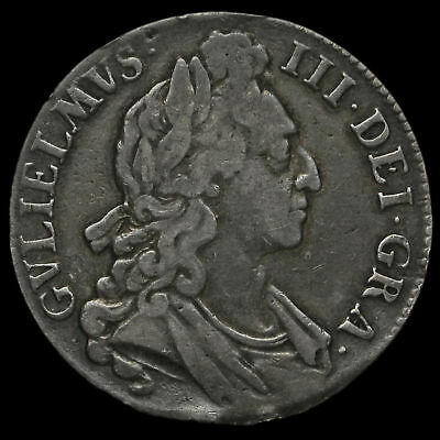 1696 William III Early Milled Silver Octavo Crown, First Bust, Near VF
