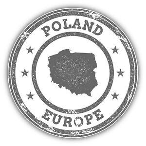 Poland Map Europe Grunge Rubber Stamp Car Bumper Sticker Decal 5/'/' x 5/'/'