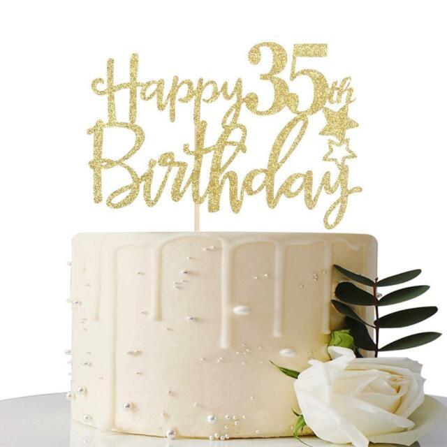 Astonishing Gold Glitter Happy 35Th Birthday Cake Topper Hello 35 Cheers To Personalised Birthday Cards Sponlily Jamesorg