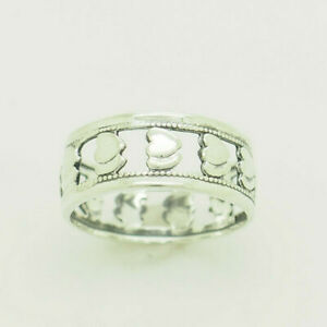 Vintage-Solid-Sterling-Silver-925-8mm-Wide-Filigree-Double-Hearts-Band-Ring-7