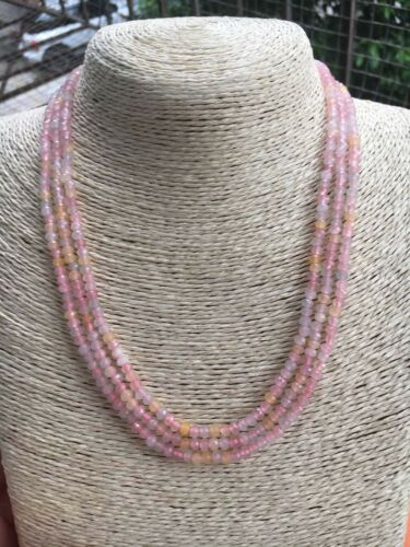 NATURAL 3 Rows 2x4mm FACETED colorful Morganite GEMS NECKLACE 18-20/'/'