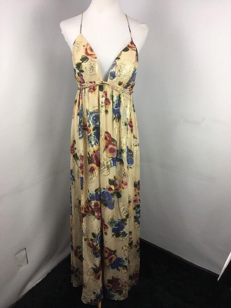 FREE PEOPLE SHADOWS PRINTED MAXI SILK   METALLIC DRESS, Sz 12 NWT New  Gown