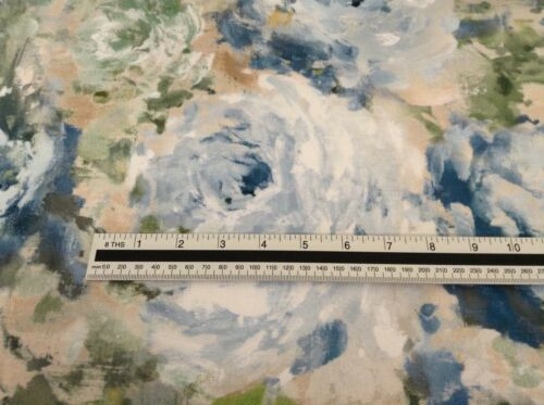 Paradise Blooms Floral Velvet Blue greens 140cm wide Curtain//Upholstery Fabric