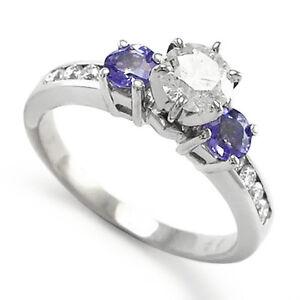 14k White Gold Tanzanite and Diamond Engagement Ring # ...