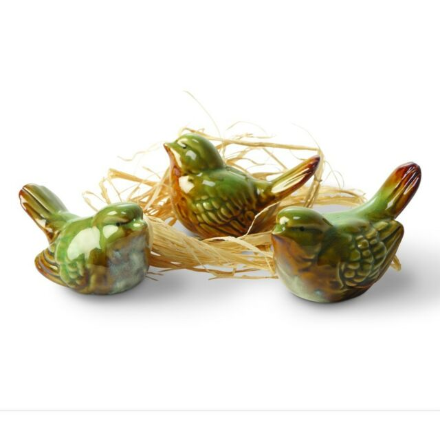 Decorative Green Ceramic Birds - Set of 3