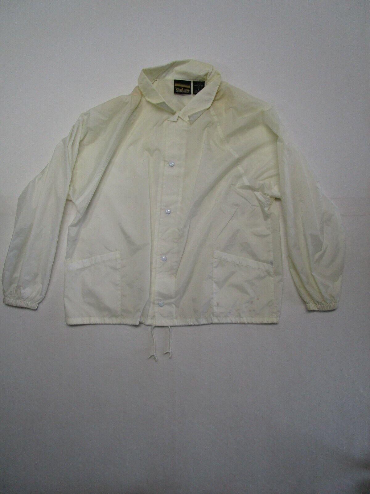 Auburn Sportswear Mens XL FLAWED White Full Zip Windbreaker String Waist Button