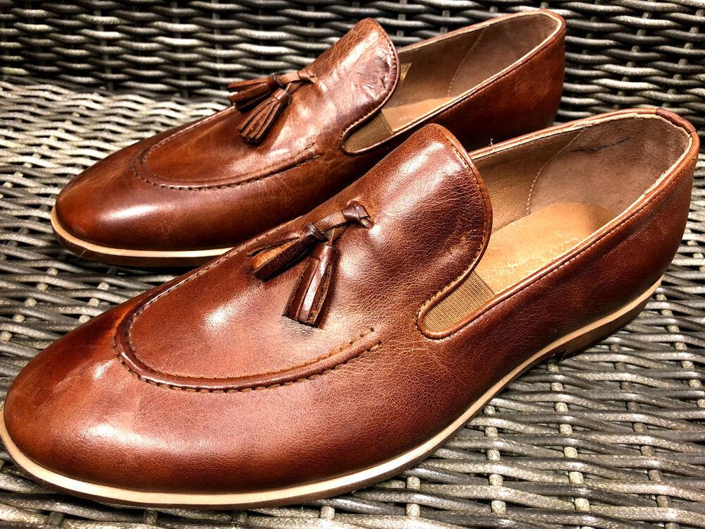 Designer Mocassins Ecrou Braun Fait à La Main Cuir Chaussures Homme 40