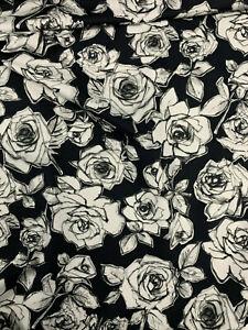 5-Metres-Noir-Roses-Imprime-100-Coton-Popeline-Tissu