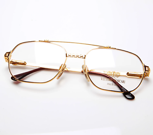 Vintage-Vittorio-Foscari-204-10-22Kt-Gold-Pilot-Eyeglasses-Optical-Frame-Lunette