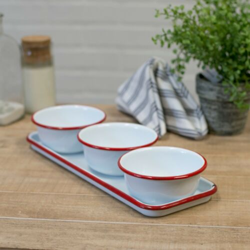 Set of 3 White Enamel Bowl with Red Trim and Serving Tray Snack Serving Bowl Set