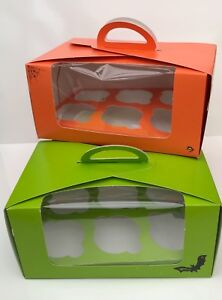 2-X-HALLOWEEN-HOLDS-6-CUPCAKES-Trick-or-Treat-Loot-Boxes-Orange-and-Green