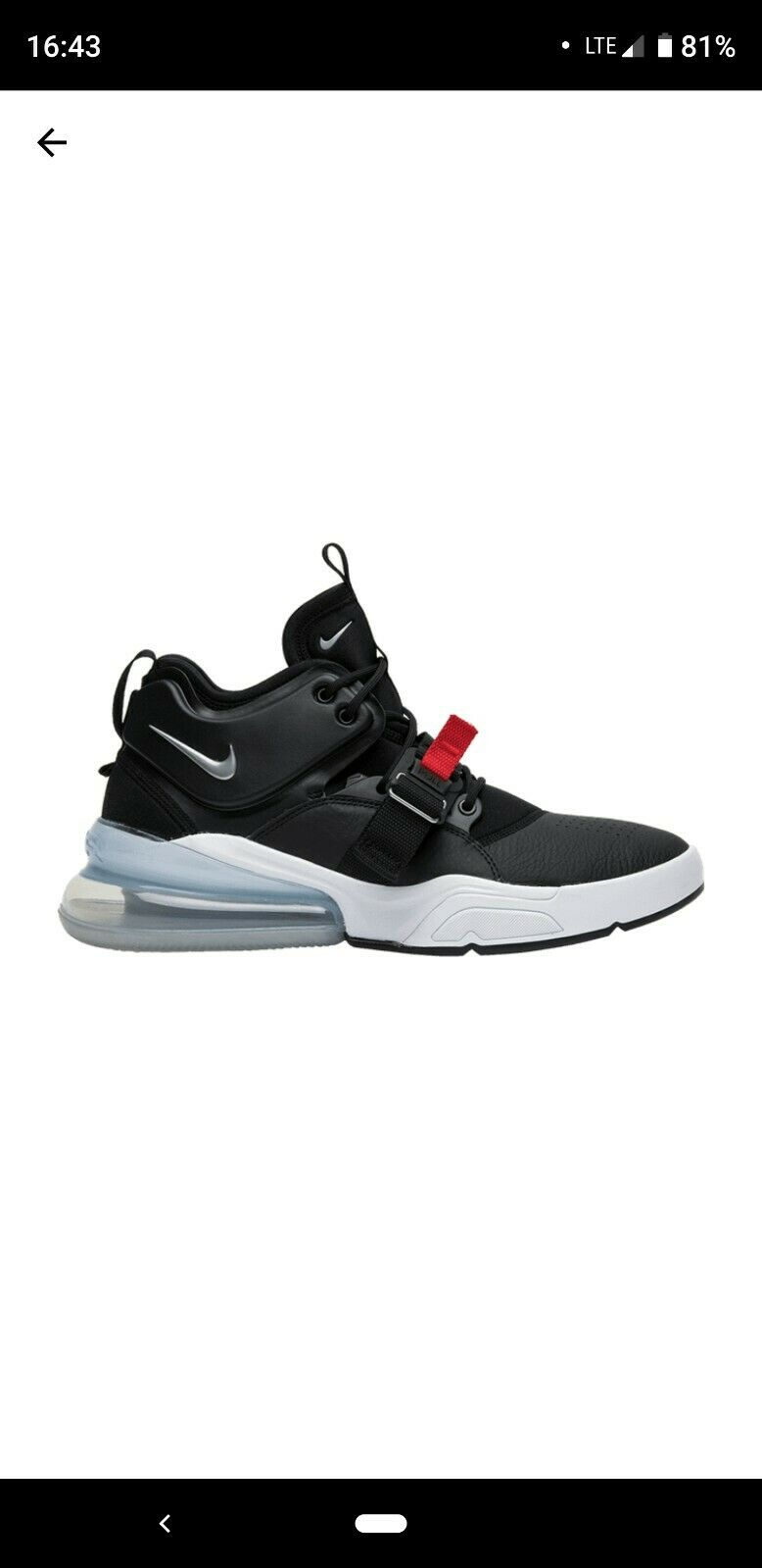 NIKE AIR FORCE 270 AH6772-001 BLACK WHITE RED size 8