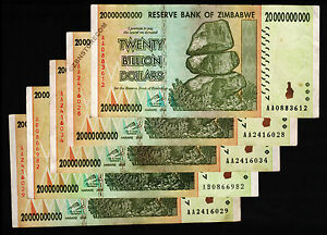 Details About 20 Billion Zimbabwe Dollars X 5 Bank Notes Aa Ab 2008 Currency Paper Money Lot