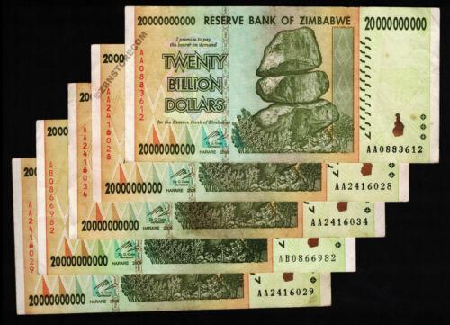 20 Billion Zimbabwe Dollars x 5 Bank Notes AA AB 2008 Currency Paper Money Lot