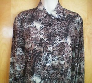 womens-size-S-black-brown-ivory-animal-print-ANNA-amp-FRANK-l-s-silk-blouse-shirt