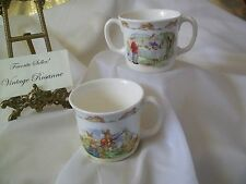 Royal Doulton Bunnykins Set of 2 CUPS 1936 Bailing Hay & 1988 Bake Sale Adorable