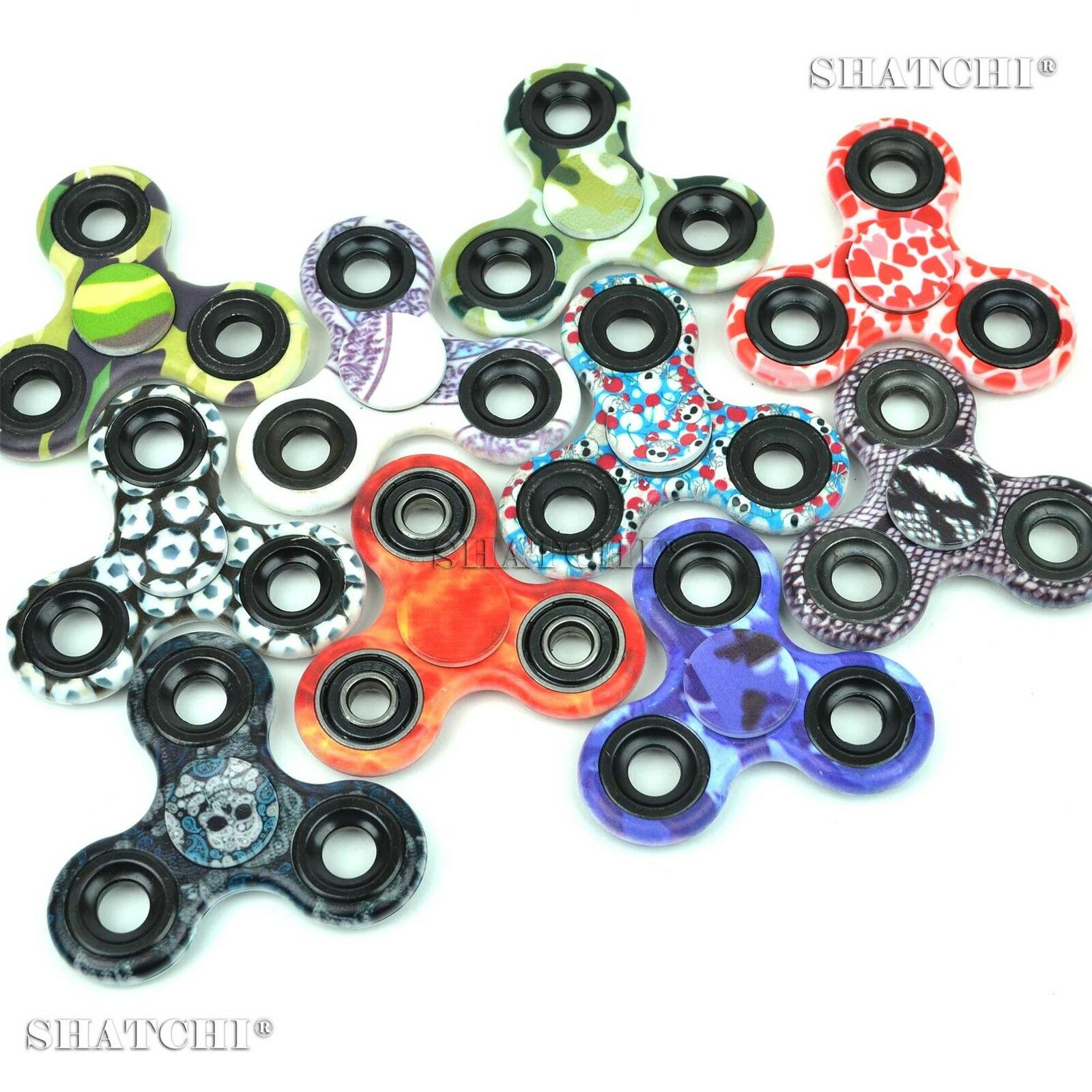 100 Printed Camo camouflage tri spinner Fidget Hand UK Seller Party Bag Fillers