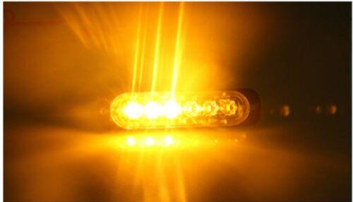 Ámbar 4x 6 LED de luces de baliza de emergencia coche camión Flash Estroboscópico Bar advertencia de peligro
