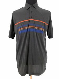 Greg-Norman-Mens-Play-Dry-Short-Sleeve-Stretch-Gray-Golf-Polo-Shirt-Size-Large
