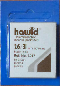 HAWID-STAMP-MOUNTS-BLACK-Pack-of-50-Individual-26mm-x-31mm-Ref-No-6047
