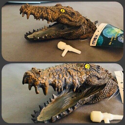 Crocodile Alligator Skull Resin Decoration Aquarium Vivarium Ornament 8.5cm