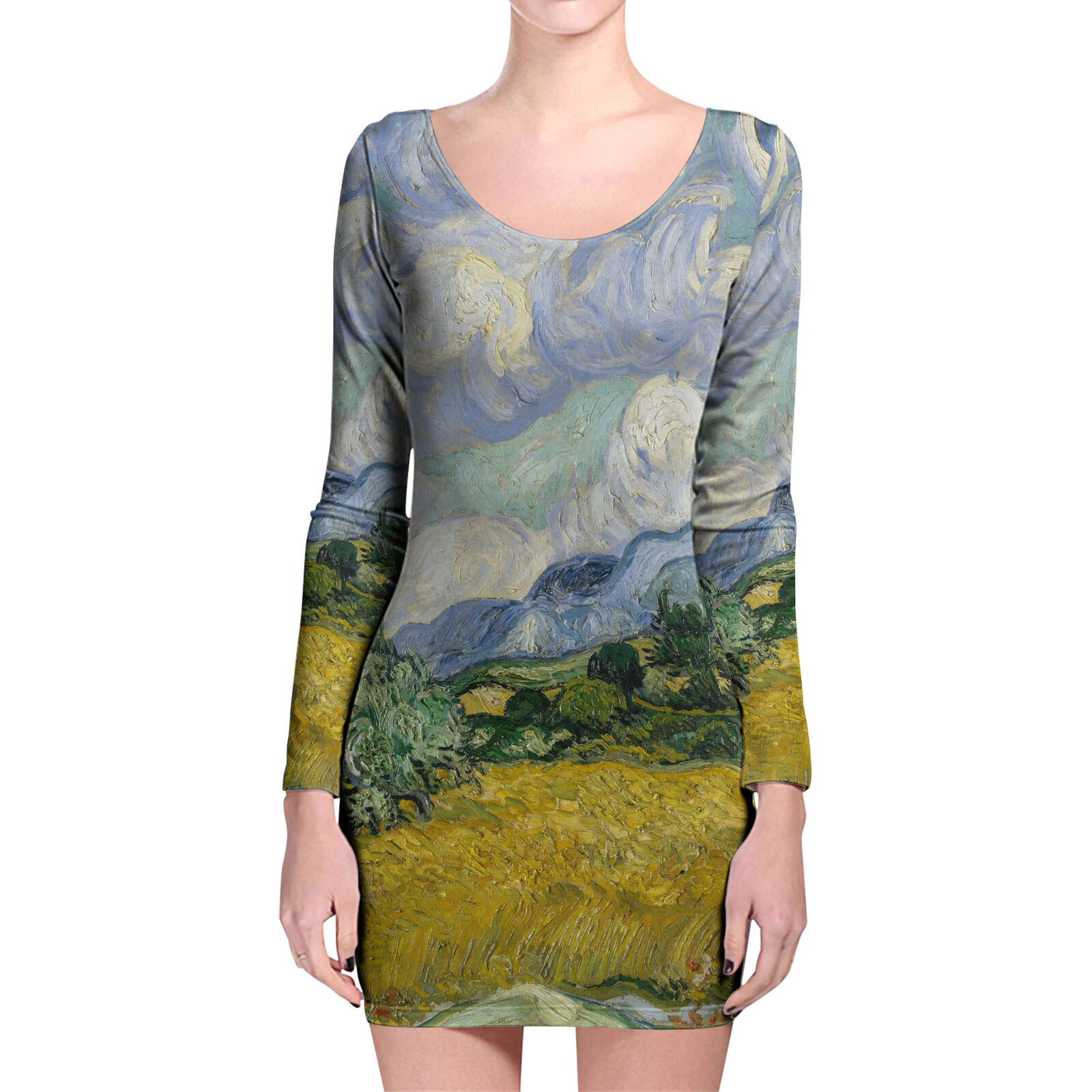 Vincent Van Gogh Fine Art Painting Longsleeve Bodycon Dress
